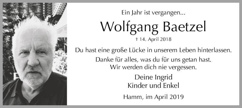 Traueranzeige für Wolfgang Baetzel vom 13.04.2019 aus MZV