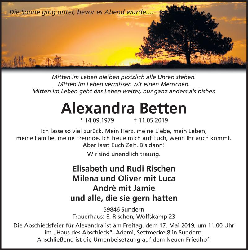Traueranzeige für Alexandra Betten vom 15.05.2019 aus HSK
