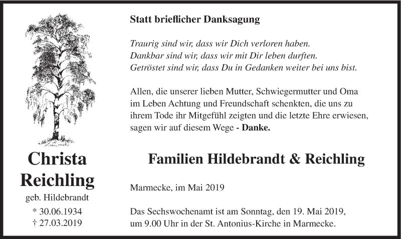 Traueranzeige für Christa Reichling vom 15.05.2019 aus HSK