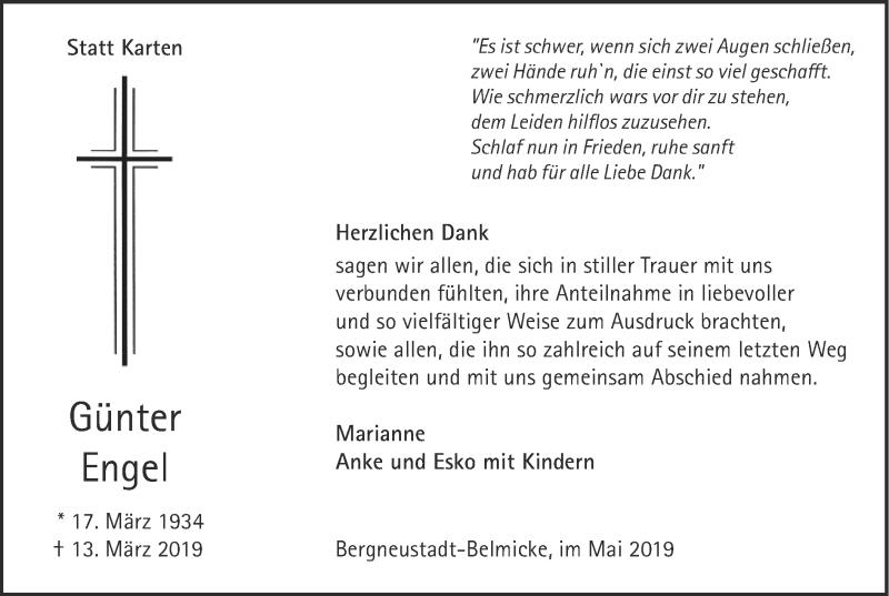 Traueranzeige für Günter Engel vom 15.05.2019 aus HSK