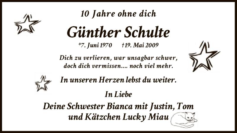 Traueranzeige für Günther Schulte vom 18.05.2019 aus MZV