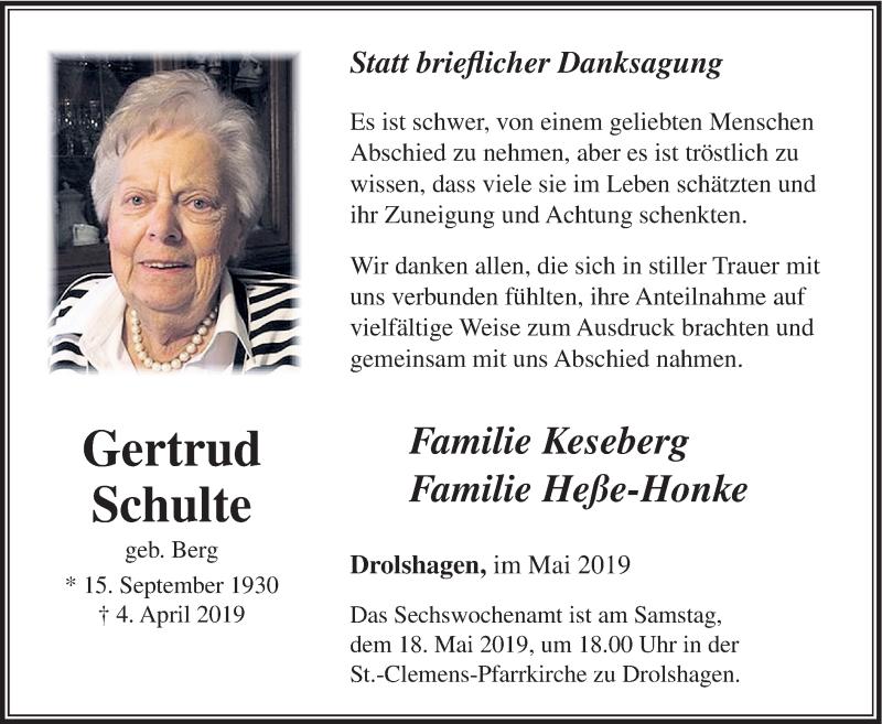Traueranzeige für Gertrud Schulte vom 15.05.2019 aus HSK