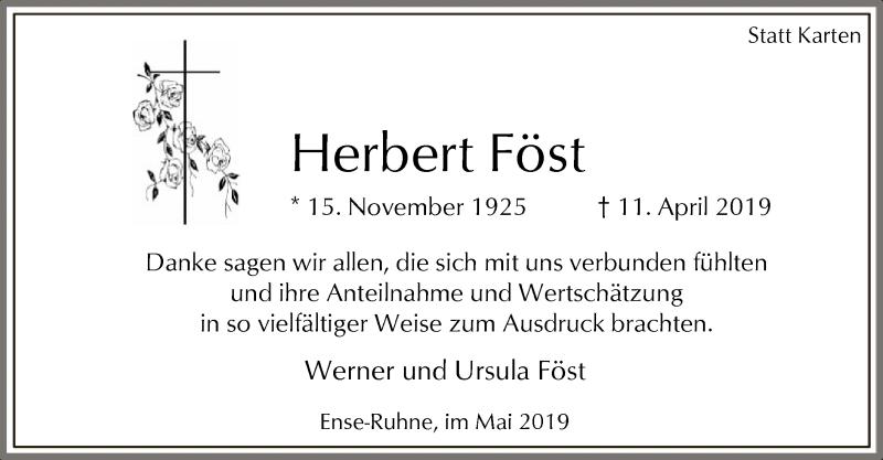 Traueranzeige für Herbert Föst vom 18.05.2019 aus MZV