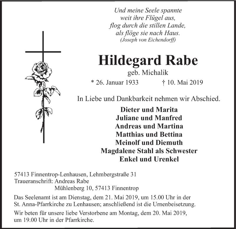 Traueranzeige für Hildegard Rabe vom 15.05.2019 aus HSK