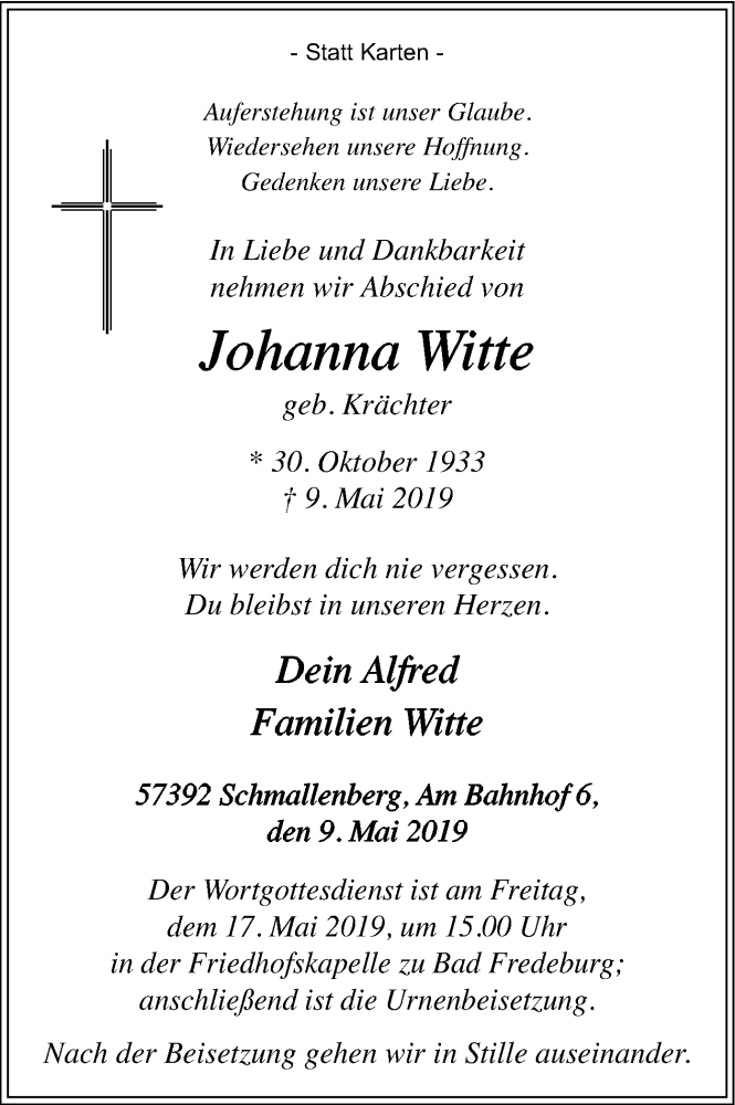 Traueranzeige für Johanna Witte vom 15.05.2019 aus HSK