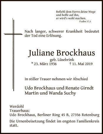 Traueranzeige für Juliane Brockhaus vom 16.05.2019 aus MZV