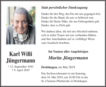 Traueranzeige für Karl Willi Jüngermann vom 15.05.2019 aus HSK