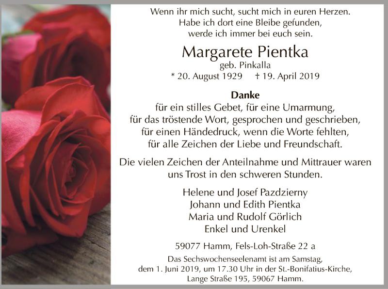 Traueranzeige für Margarete Pientka vom 25.05.2019 aus MZV
