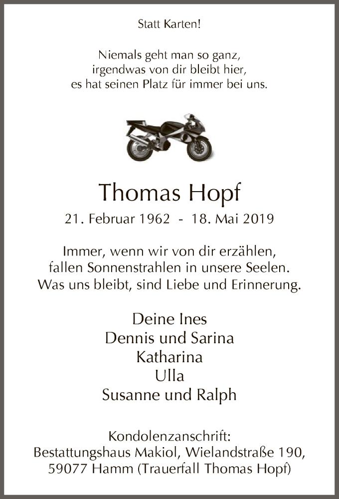 Traueranzeige für Thomas Hopf vom 25.05.2019 aus MZV