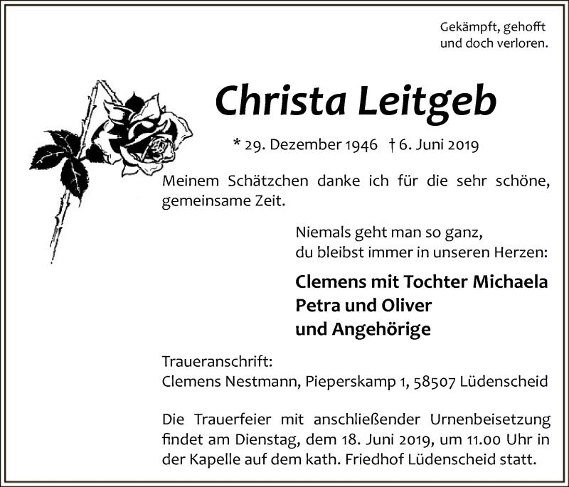 Traueranzeige für Christa Leitgeb vom 12.06.2019 aus MZV