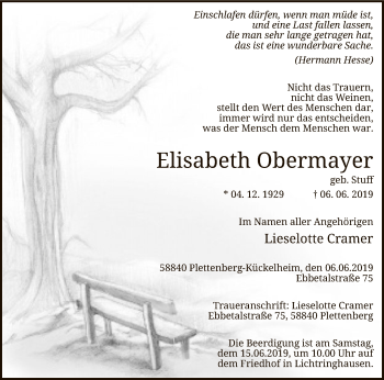 Traueranzeige für Elisabeth Obermayer vom 12.06.2019 aus MZV