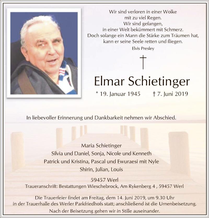Traueranzeige für Elmar Schietinger vom 12.06.2019 aus MZV