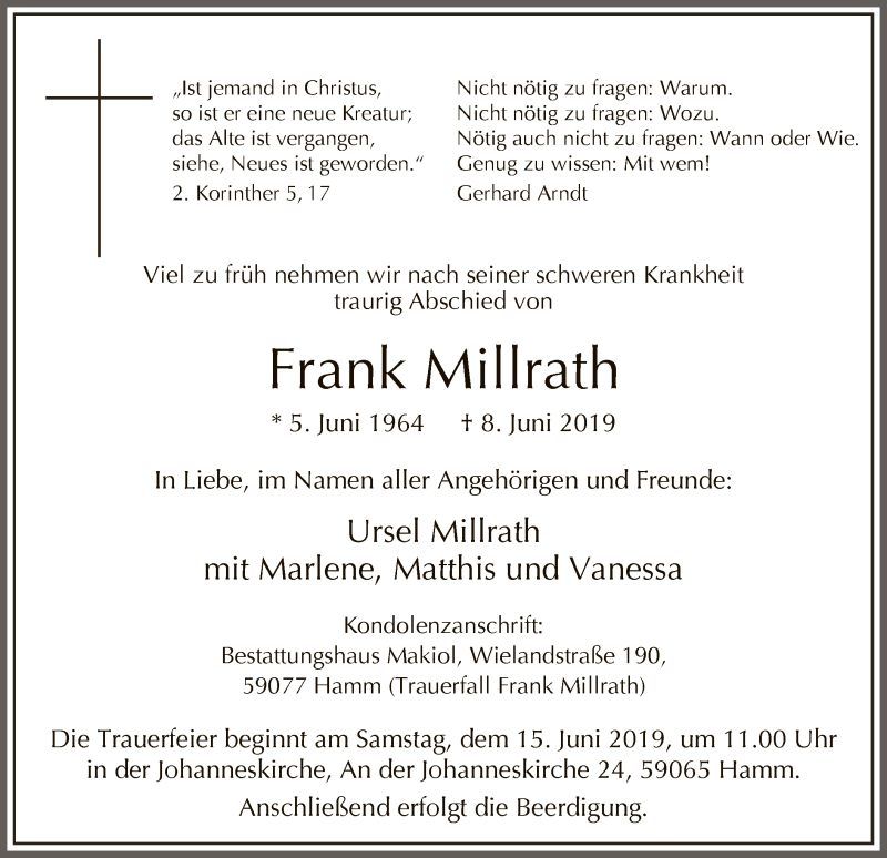 Traueranzeige für Frank Millrath vom 12.06.2019 aus MZV