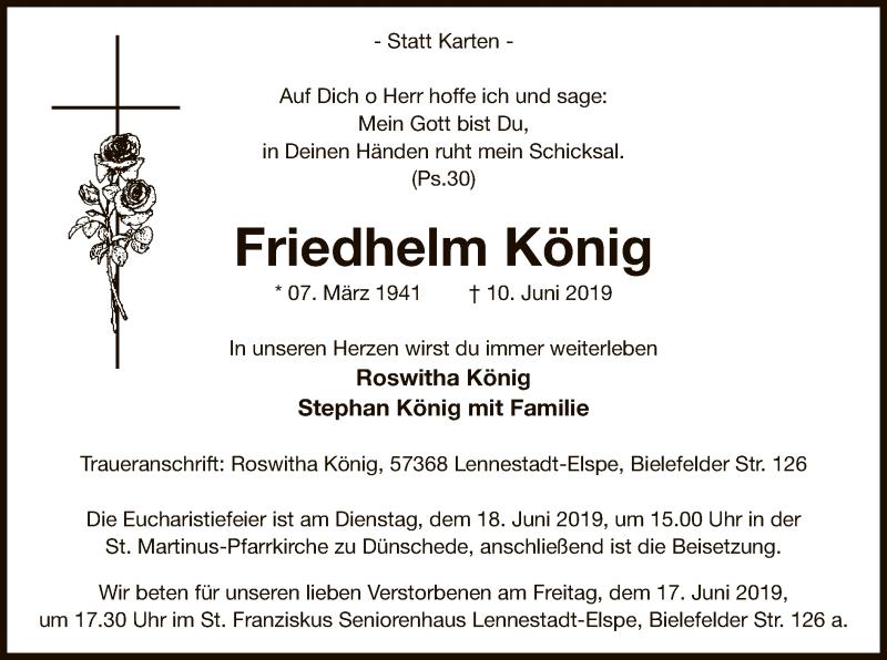 Traueranzeige für Friedhelm König vom 12.06.2019 aus MZV
