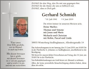 Traueranzeige für Gerhard Schmidt vom 12.06.2019 aus MZV