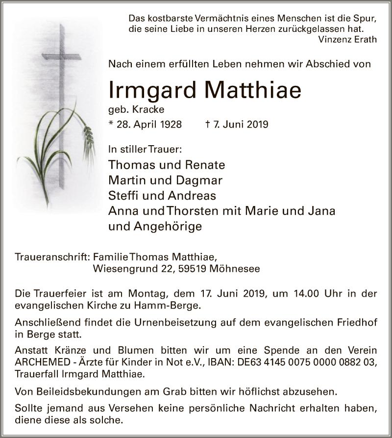 Traueranzeige für Irmgard Matthiae vom 12.06.2019 aus MZV