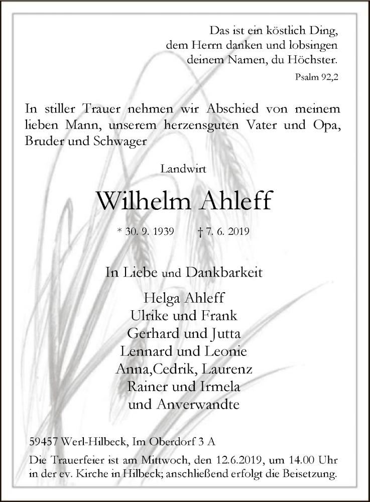 Traueranzeige für Wilhelm Ahleff vom 08.06.2019 aus MZV