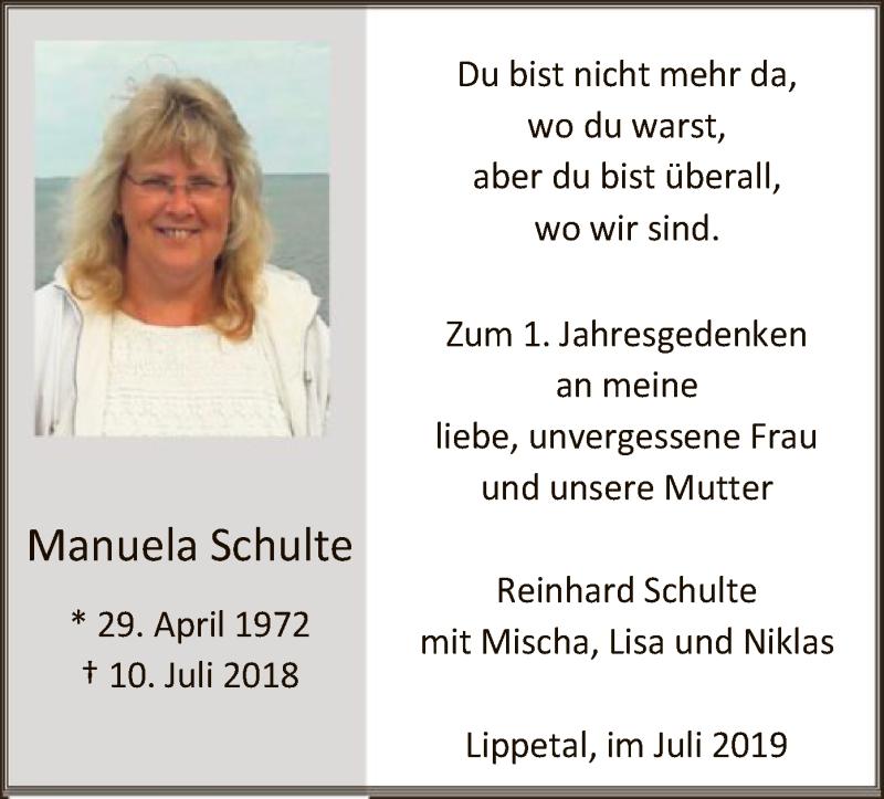 Anzeige von  Manuela Schulte