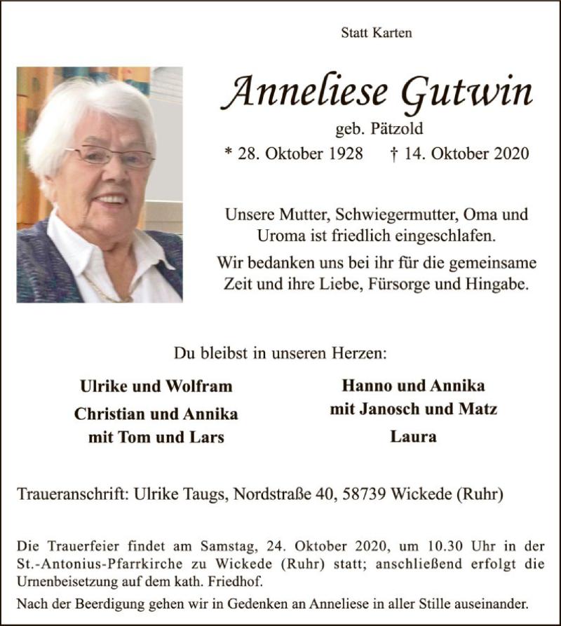 Traueranzeige für Anneliese Gutwin vom 17.10.2020 aus WA