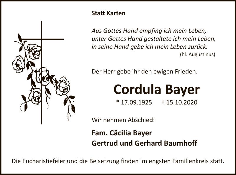 Traueranzeige für Cordula Bayer vom 17.10.2020 aus WA