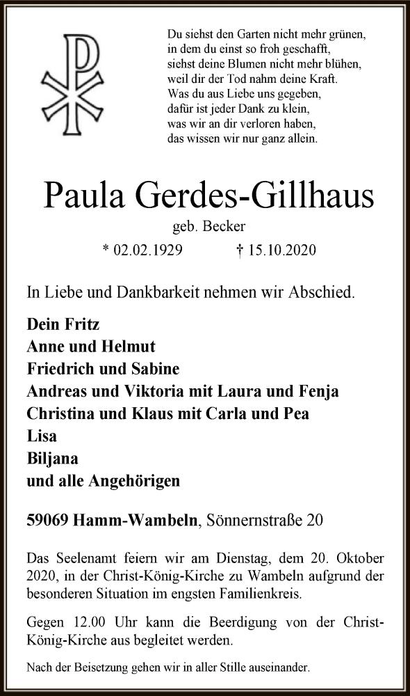 Traueranzeige für Paula Gerdes-Gillhaus vom 17.10.2020 aus WA