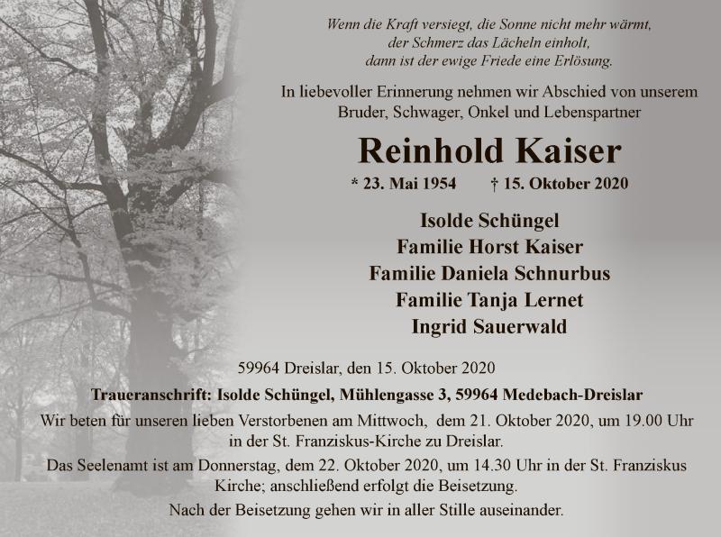 Traueranzeige für Reinhold Kaiser vom 17.10.2020 aus WA