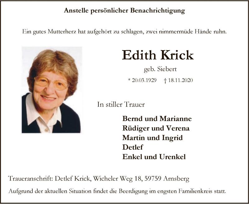 Traueranzeige für Edith Krick vom 21.11.2020 aus WA