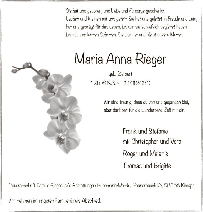 Traueranzeige für Maria Anna Rieger vom 21.11.2020 aus WA