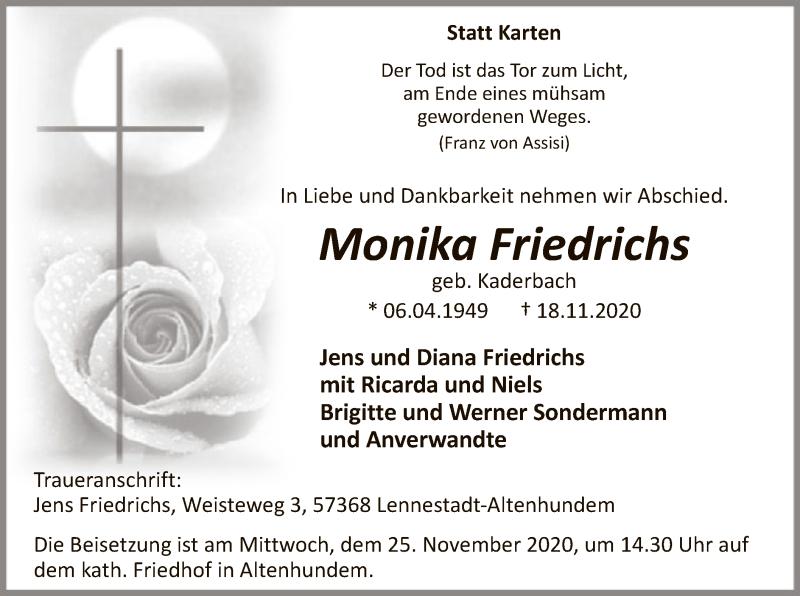 Traueranzeige für Monika Friedrichs vom 21.11.2020 aus WA