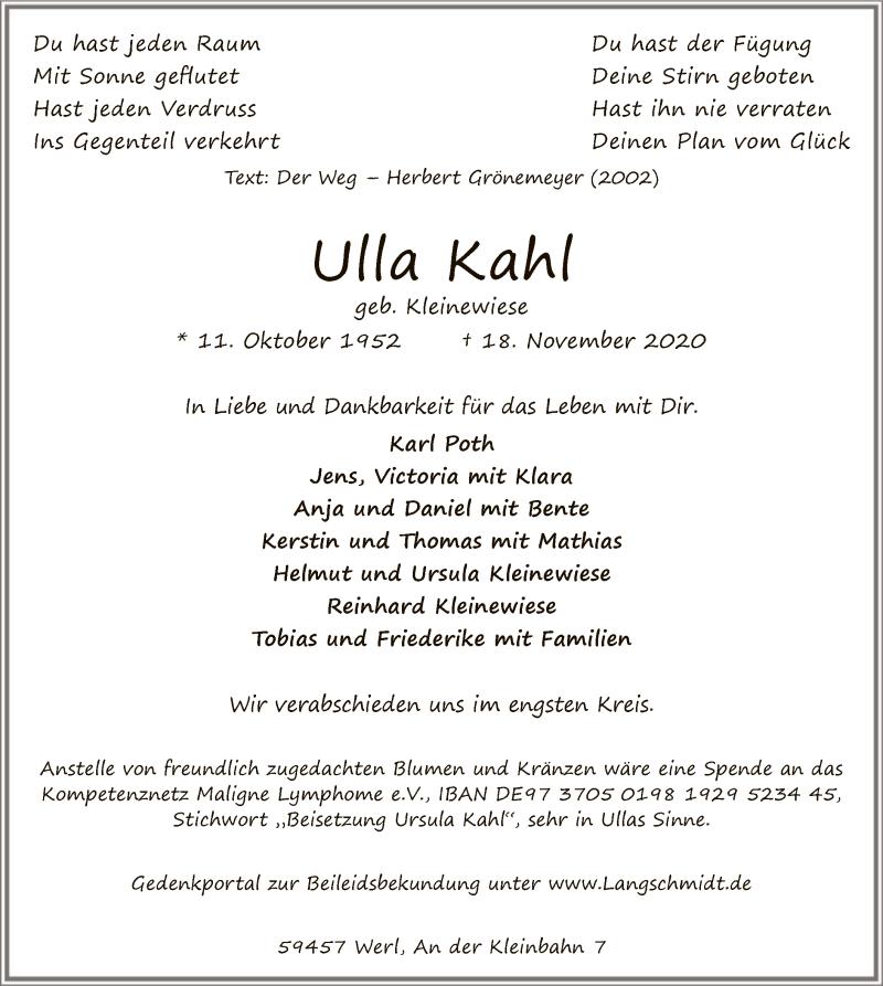 Traueranzeige für Ulla Kahl vom 21.11.2020 aus WA