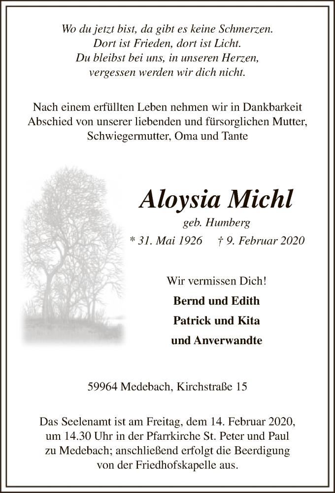 Traueranzeige für Aloysia Michl vom 12.02.2020 aus MZV