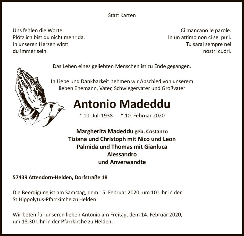 Traueranzeige für Antonio Madeddu vom 12.02.2020 aus MZV