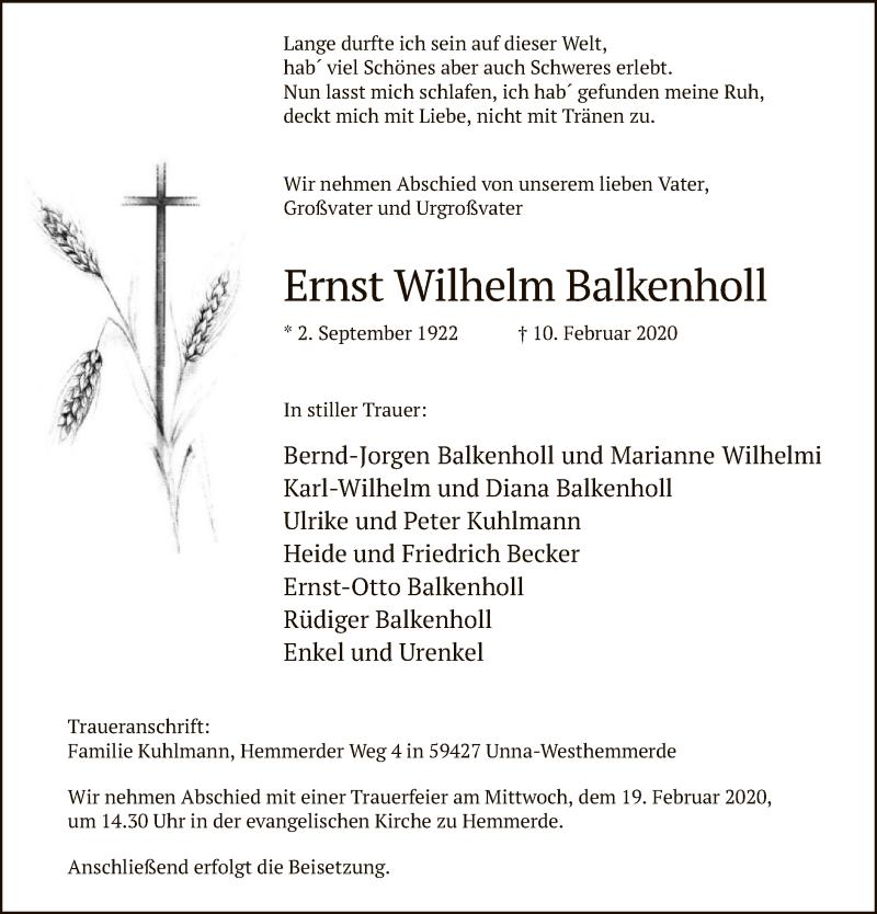 Traueranzeige für Ernst Wilhelm Balkenholl vom 14.02.2020 aus MZV