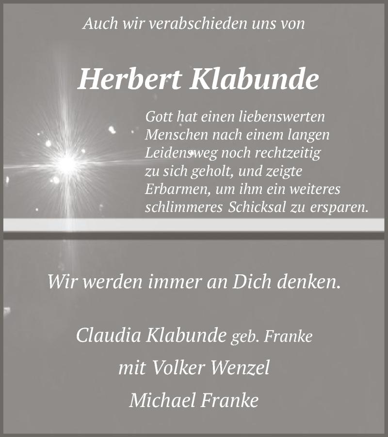 Traueranzeige für Herbert Klabunde vom 12.02.2020 aus MZV