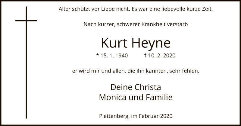 Traueranzeige für Kurt Heyne, vom 12.02.2020 aus MZV