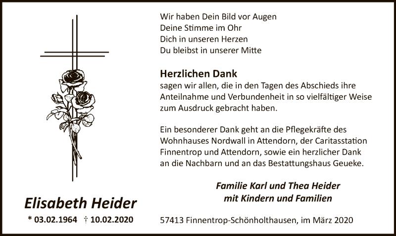Traueranzeige für Elisabeth Heider vom 28.03.2020 aus MZV