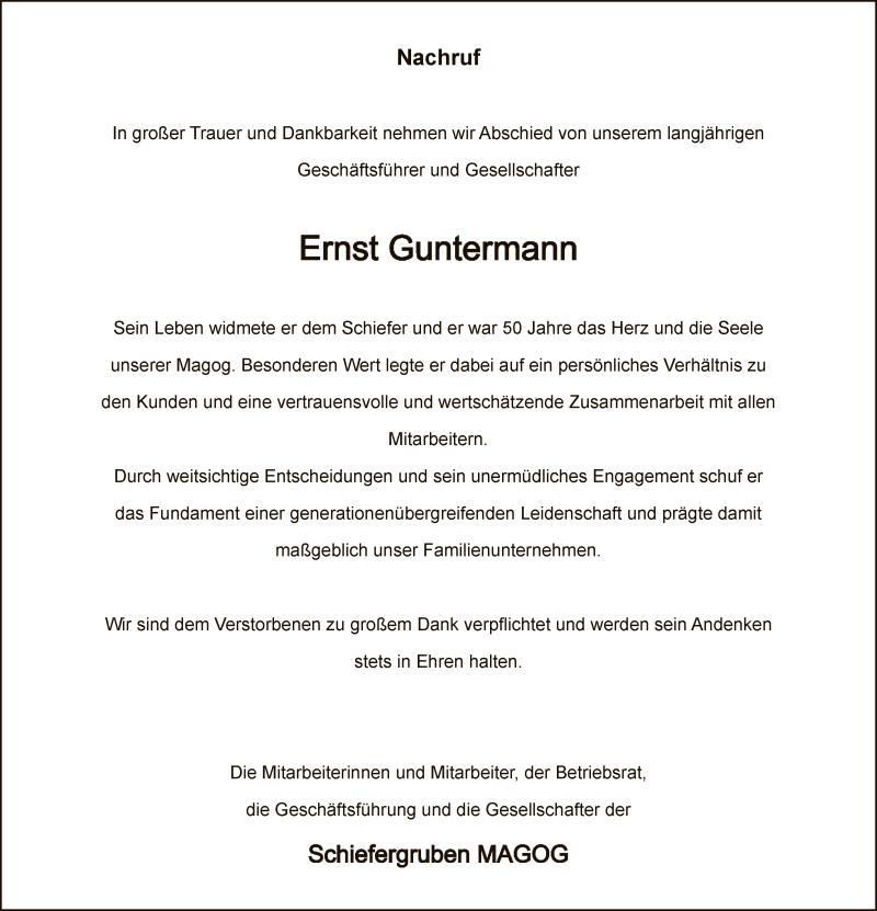 Traueranzeige für Ernst Guntermann vom 23.05.2020 aus WA