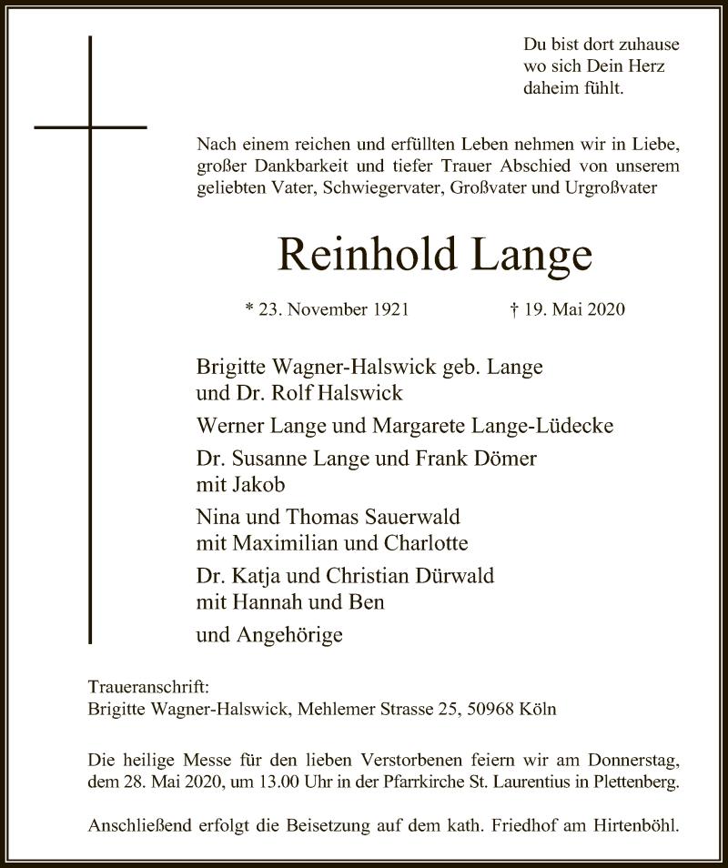 Traueranzeige für Reinhold Lange vom 23.05.2020 aus WA