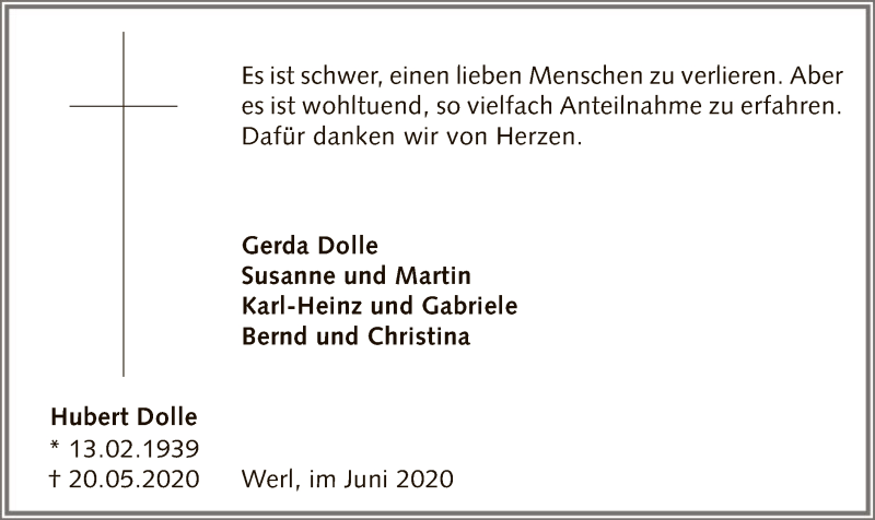 Traueranzeige für Hubert Dolle vom 20.06.2020 aus WA