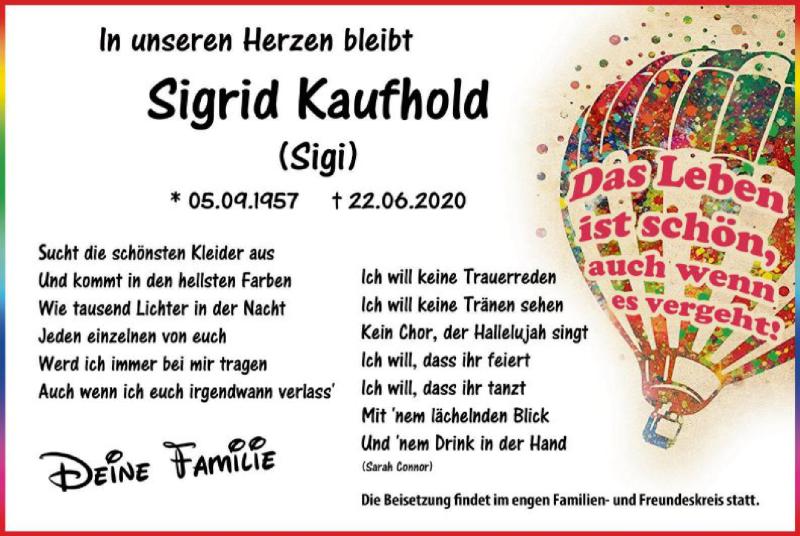 Traueranzeige für Sigrid Kaufhold  vom 27.06.2020 aus WA
