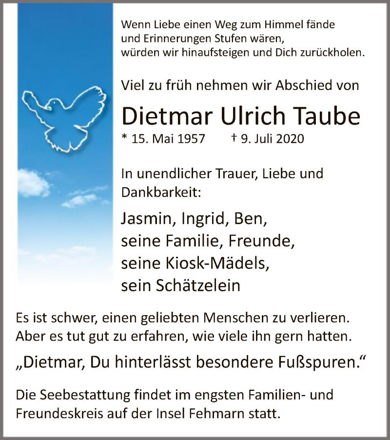 Traueranzeige für Dietmar Ulrich Taube vom 15.07.2020 aus WA