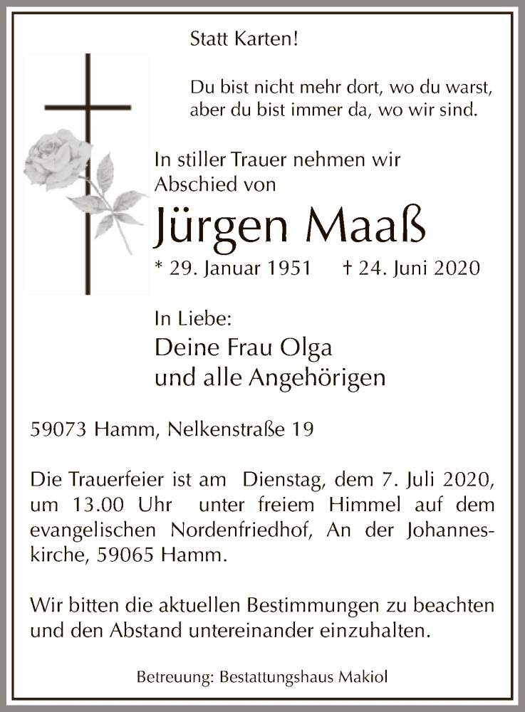 Traueranzeige für Jürgen Maaß vom 04.07.2020 aus WA