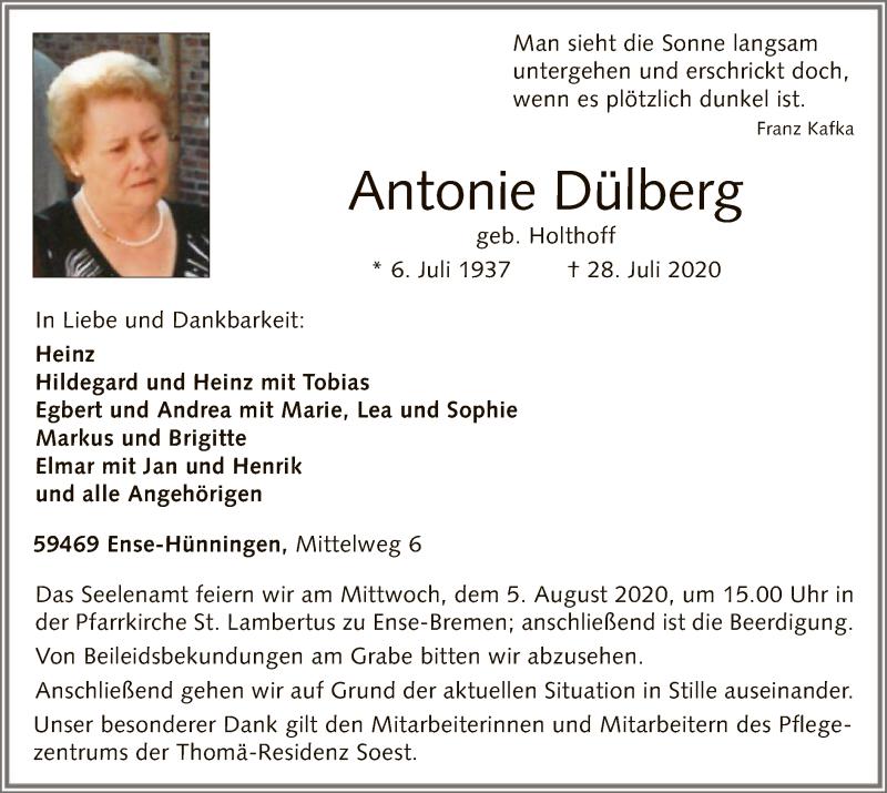 Traueranzeige für Antonie Dülberg vom 01.08.2020 aus WA
