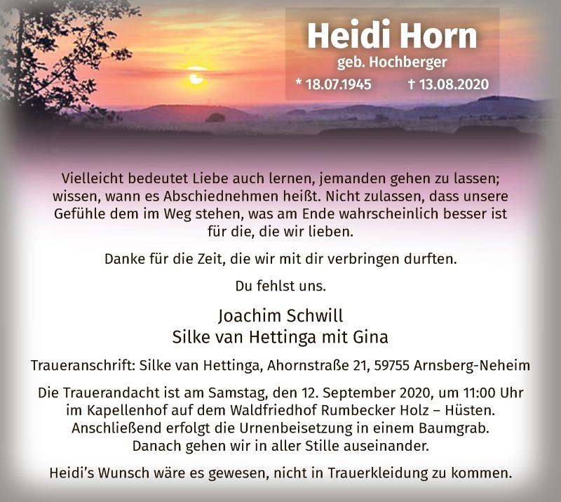 Traueranzeige für Heidi Horn vom 22.08.2020 aus WA