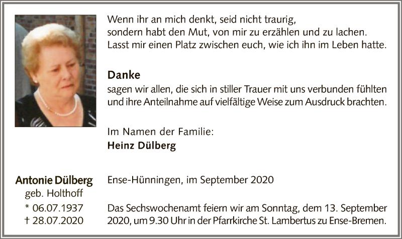 Traueranzeige für Antonie Dülberg vom 05.09.2020 aus WA
