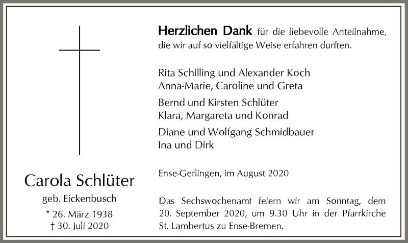 Traueranzeige für Carola Schlüter vom 12.09.2020 aus WA