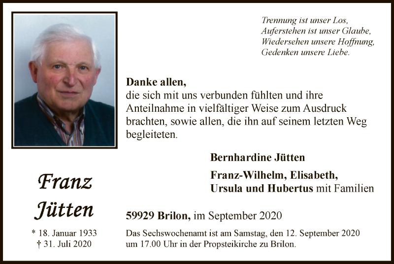 Traueranzeige für Franz Jütten vom 05.09.2020 aus WA