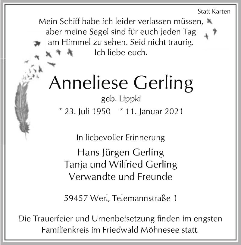 Traueranzeige für Anneliese Gerling vom 13.01.2021 aus WA