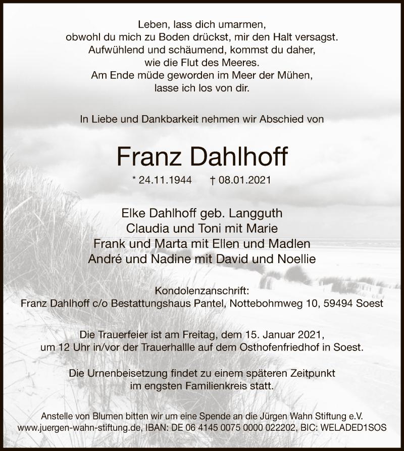 Traueranzeige für Franz Dahlhoff vom 13.01.2021 aus WA