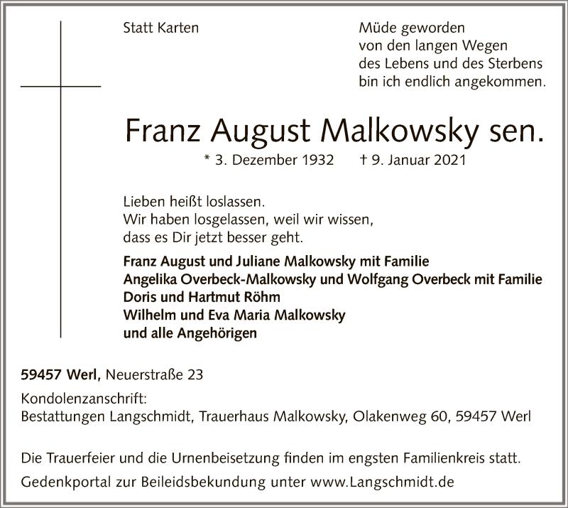 Traueranzeige für Franz August Malkowsky vom 13.01.2021 aus WA